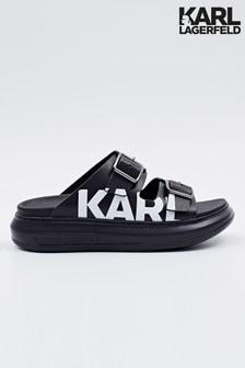 Karl Lagerfeld Black Double Buckle Leather Sandal