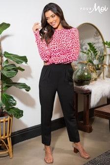 Pour Moi Black Ava Elasticated Woven Straight Leg Trouser