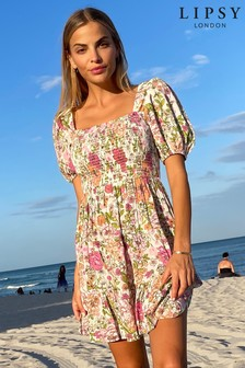 Lipsy Floral Shirred Puff Sleeve Dress