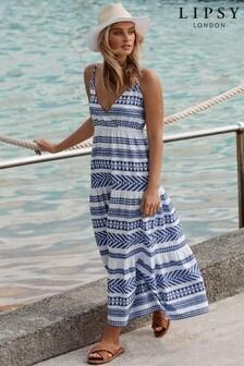 Lipsy Navy Aztec Trapeze Maxi Dress