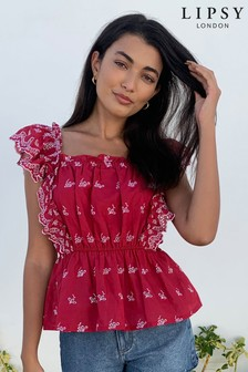 Lipsy Red Broderie Ruffle Top
