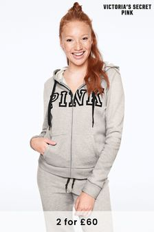 Victoria's Secret PINK Heather Stone Grey Everyday Lounge Zip Up Hoodie