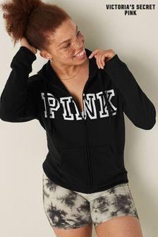 Victoria's Secret PINK Black Classic Logo Everyday Lounge Zip Up Hoodie