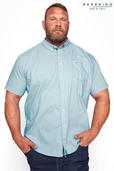 BadRhino Blue Cotton Poplin Short Sleeve Shirt