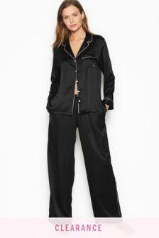 Victoria's Secret Black Satin Long PJ Set