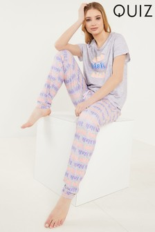 Quiz Purple Stripe Pyjama Set