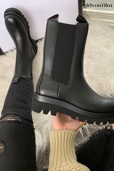 Girls On Film Black Chunky Chelsea Boots