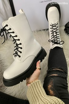 Girls On Film White Chunky Lace Up Boots