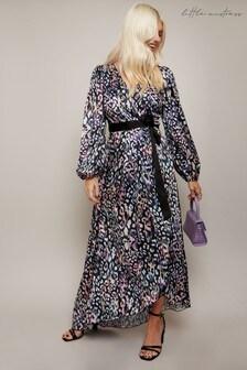 Little Mistress Black Zaire Leopard Print Satin Asymmetric Maxi Wrap Dress