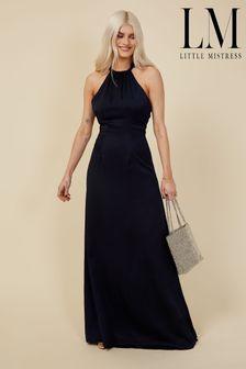 Little Mistress Navy Bridesmaid Rafaela Navy Satin Halterneck Maxi Dress