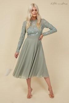 Little Mistress Green Bridesmaid Ayla Waterlily Embellished Midi Dress