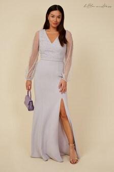 Little Mistress Blue Bridesmaid Sofie Dusty Blue Pearl Mesh Maxi Dress