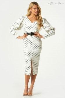 Little Mistress Monochrome Kasidy Cream Spot Belted Bodycon Midi Dress