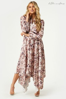 Little Mistress Pink Elon Mink Floral Print Satin Hanky Hem Midaxi Dress