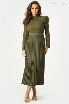 Little Mistress Green Milena Embroidered Pleated Midaxi Dress