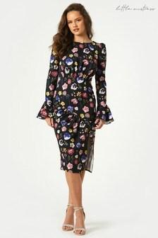 Little Mistress Black Nessa Floral Print Bodycon Midi Dress
