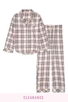 Victoria's Secret Pink Black Check Cotton Flannel Long PJ Set