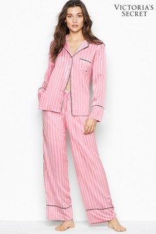 Victoria's Secret Angel Pink Stripe Satin Long PJ Set