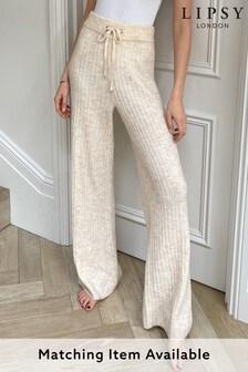Lipsy Neutral Knitted Rib Loungewear Trouser