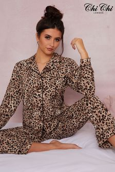 Chi Chi London Brown Long Sleeve Pyjama Set