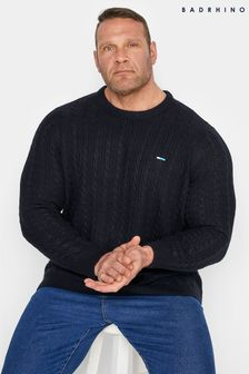 BadRhino Navy Essential Cable Knitted Jumper