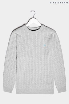 BadRhino Grey Essential Cable Knitted Jumper