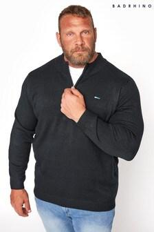 BadRhino Black Essential Quarter Zip Knitted Jumper