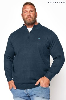 BadRhino Navy Essential Quarter Zip Knitted Jumper