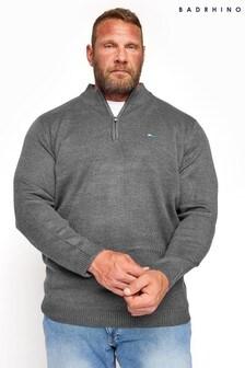 BadRhino Grey Essential Quarter Zip Knitted Jumper