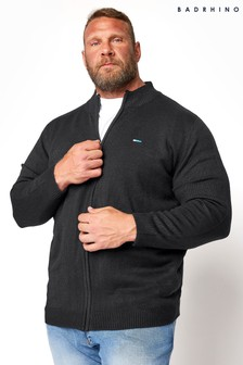 BadRhino Black Essential Full Zip Knitted Jumper