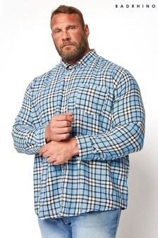 BadRhino Blue Brushed Cotton Check Shirt