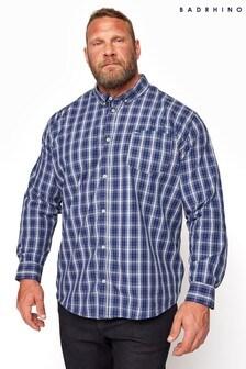 BadRhino Blue Cotton Check Shirt