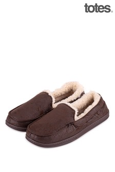 Totes Brown Mens Distressed Moccasin With Check Slipper