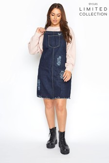 Yours Dark Blue Wash Limited Collection Distressed Pinafore Dress