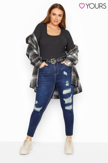 Yours Blue Dark Extreme Distressed Ripped Skinny Ava Jeans