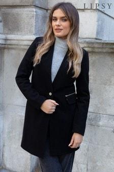 Lipsy Black Wool Blend Crombie Coat