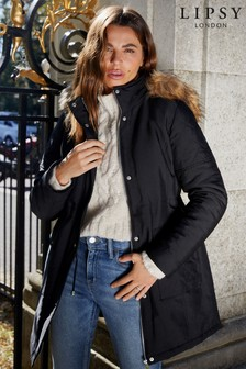 Lipsy Black Quilted Parka