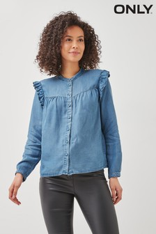 Only Blue Denim Shirt with Frill Detail
