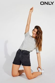 Only Black High Waisted Stretch Mom Denim Shorts