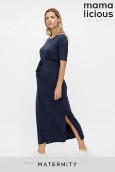 Mamalicious Navy Maternity Jersey Maxi Dress