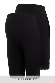 Mamalicious Black Maternity 2 Pack Lace Trim Legging Shorts