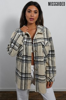 Missguided cream and black check Oversized Check Shacket