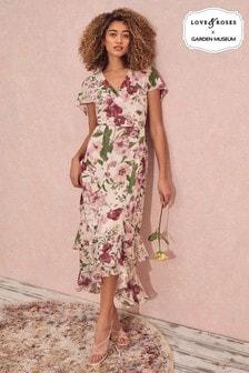 Love & Roses Multi Floral Cape Maxi Dress