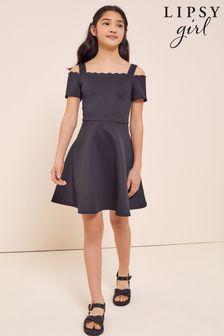 Lipsy Black Scallop Bardot Scuba Dress