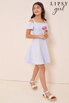 Lipsy Cornflower Scallop Bardot Scuba Dress