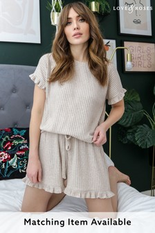 Love & Roses Nude Relaxed Frill Sleeve T-shirt