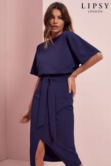 Lipsy Navy Kimono Tie Waist Dress