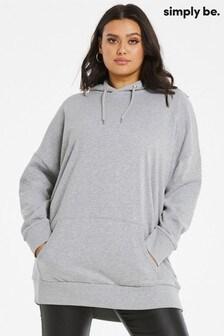 Simply Be Grey Marl Oversized Hoodie
