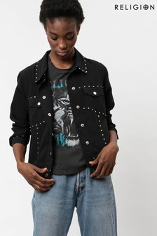 Religion Black Biker Jacket With Stud Details
