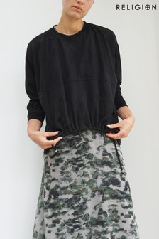Religion Black Suedette Lounge Top With Drawstring Detail
